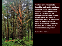 Yuval Noah Harari quote level two chaotic system